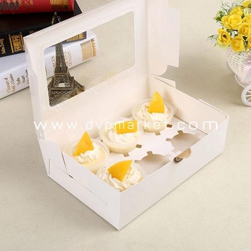 Hộp đựng bánh cupcake giấy trắng