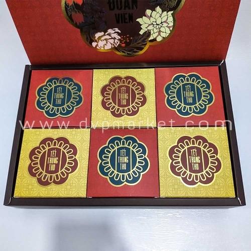 Bộ túi hộp trung thu 6 bánh 200-250g Hoa đỏ ép kim 2020