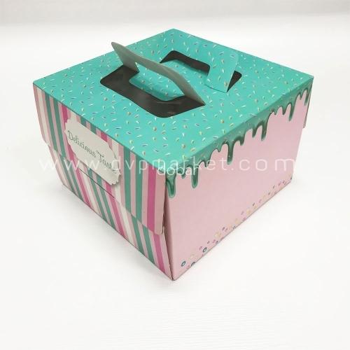 Hộp giấy đựng bánh kem - Hình vuông - 25x25x17 - Kèm đế
