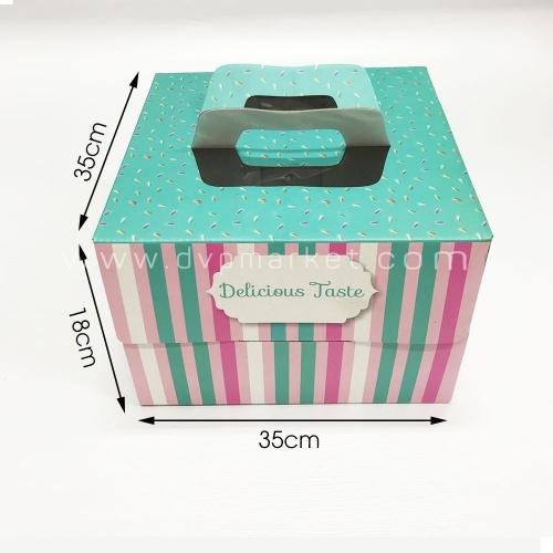 Hộp giấy đựng bánh kem - Hình vuông - 35x35x18 - Kèm đế