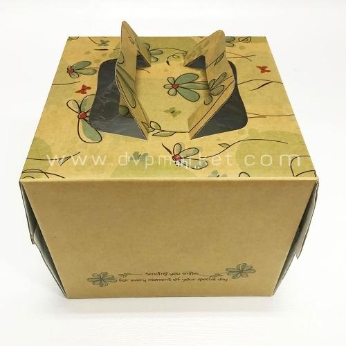 Hộp giấy đựng bánh kem - Hình vuông - 23x23x17 - Kèm đế