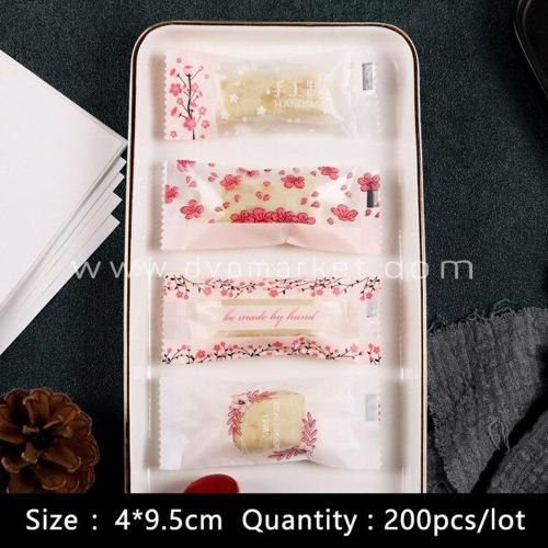Túi kẹo nougat 4x9.5cm in hoa (Xấp 200)