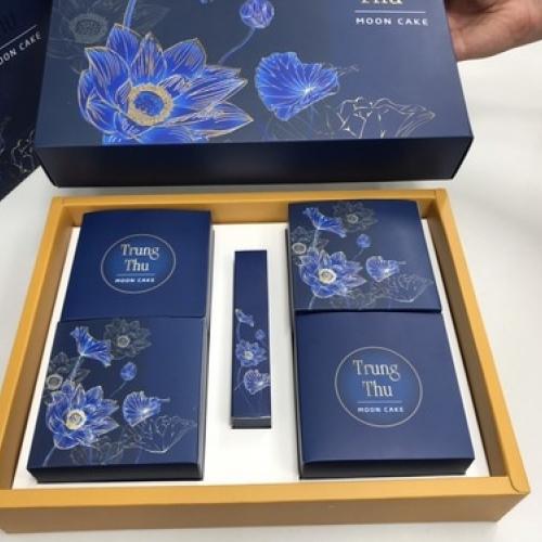 Bộ túi hộp trung thu 4 bánh 150-250g hộp trà Xanh dương cao cấp 2019